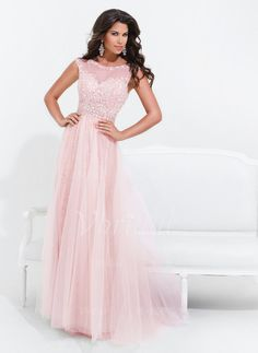 Evening Dresses - $157.86 - A-Line/Princess Scoop Neck Sweep Train Tulle Evening Dress With Beading (0175056012)