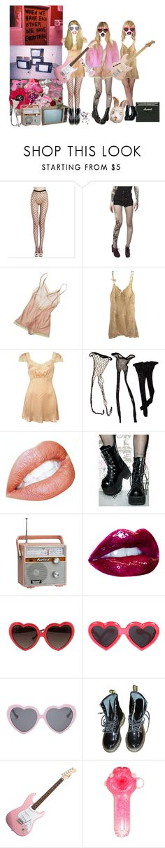 """""""celebrity skin"""" by larrypossum ❤ liked on Polyvore featuring Tripp, Araks, Agent Provocateur, Demonia, CO, Linda Farrow, Vans, Dr. Martens, Hello Kitty and Paul Frank"""