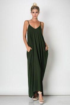 Loose fitting, spaghetti strap maxi dress Side pockets 100% Rayon Sizing Chart