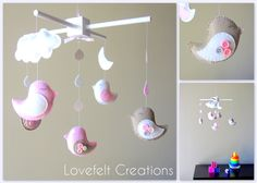 Baby crib mobile - Baby Girl Mobile - Custom Baby Mobile -  Baby Birds Mobile - Nursery Mobile - Neutral Mobile - OR CHOOSE your colors :). $125.00, via Etsy.