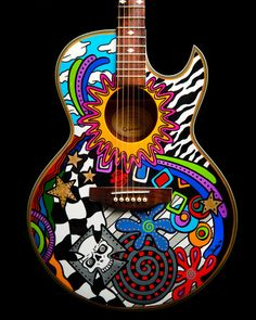 Custom Hand Painted Guitar Custom Finished Guitar by DodiesArt