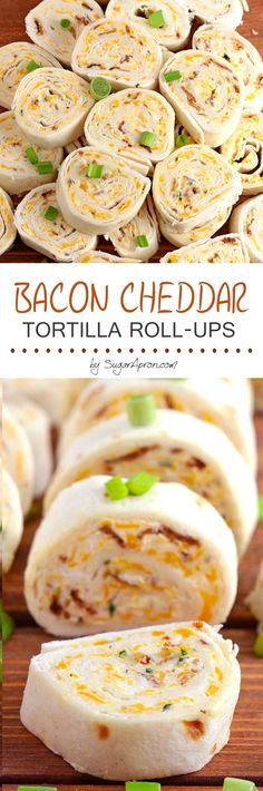 Bacon Cheddar Tortilla Roll Ups All you need is cream cheese, crumbled bacon (could even use bacon bits), cheddar cheese, ranch dressing, flour tortillas and 5 minutes. Fingerfood Recipes, Appetizer Recipes, Snack Recipes, Cooking Recipes, Finger Food Appetizers, Finger Foods, Appetizers For Party, Toothpick Appetizers, Cheese Appetizers