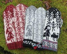 Little red riding hood mittens Knitted Mittens Pattern, Knit Mittens, Knitted Gloves, Knitting Socks, Hand Knitting, Knitting Charts, Knitting Patterns, Crochet Patterns, Fingerless Mittens