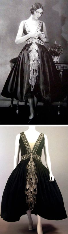 Lanvin robe de style, ca. 1926. Scanned from Lanvin by Dean Merceron via Fashion Museum (Muzealne Mody)