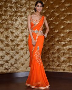 Orange and Gold Sari — loves this beautiful color and that belt!