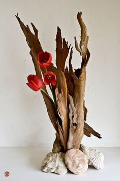 Could use branches. Like the look with use of shells at base. Would work with other flowers.