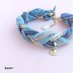 K14gf silk ribbon bracelet ocean blue shell | bracelet · bangle | kaon + | handmade mail order · sale Creema