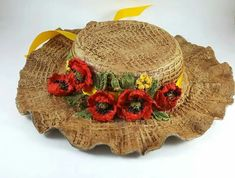 Yellow Cottage, Garden Art, Jute, Cowboy Hats, Decoupage, Centerpieces, Mixed Media, Pottery, Dolls
