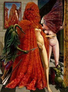The Robing of the Bride, 1939-40 - Max Ernst  (1891 - 1976). Oil on canvas. Peggy Guggenheim Collection, Venice.  Owl symbolism of female sexuality.