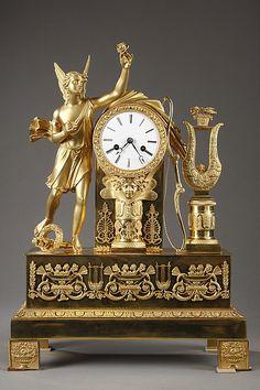 Antique Clocks : French Restauration mantel clock with Apollo musician - Decor Object Antique Clocks For Sale, Antique Wall Clocks, Unusual Clocks, Cool Clocks, Clock Art, Desk Clock, French Clock, Classic Clocks, Wall Clock Online