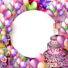 Colorful Birthday Balloons And Cake Photo Frame Happy Birthday Blue, Happy Birthday Frame, Happy Birthday Wallpaper, Happy Birthday Pictures, Birthday Frames, Colorful Birthday, Happy Birthday Messages, Happy Birthday Cakes, Birthday Kids