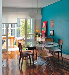 Interior, Mixing Color and Style for Every Parts of Room in Your House: Turquoise Kitchen Interior With Every Different Chair
