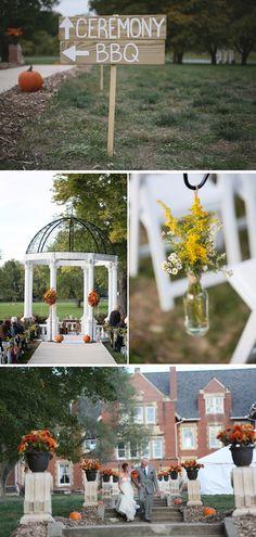 Pumpkin-Filled Fall Winery Wedding in Missouri | WeddingWire: The Blog Trendy Wedding, Fall Wedding, Rustic Wedding, Wedding Table, Wedding Ceremony, Missouri Wedding Venues, Wedding Bouquets, Wedding Flowers, Wedding Songs