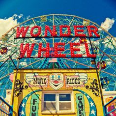 Coney Island Amusement Park Square Print  Wonder door TheLittlePixel, $23.00