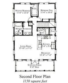 Country Style House Plan - 2 Beds 2 Baths 1150 Sq/Ft Plan #464-16 Floor Plan - Upper Floor Plan - Houseplans.com