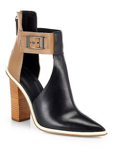 Tibi Leather Two-Tone Cutout Ankle Boots ($535)
