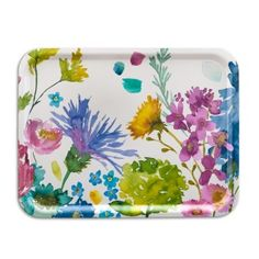 Bluebellgray Tetbury Large Cantine Tray - Inspired by the rainbow of blooms in HRH Prince of Wales' Wildflower Meadow, these signature florals inject a dose of feel good design into the home.  Tetbury brings a rainbow of watercolour wildflowers into the home in this beautifully hand-crafted birch wood tray by Åry.