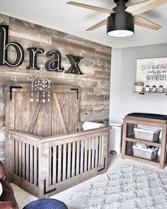 Elaborate nurseries are all the rave these days! We love the Cranbrook in this r. , Elaborate nurseries are all the rave these days! We love the Cranbrook in this rustic nursery! We have a feeling Baby Brax will too! Baby Nursery Decor, Baby Bedroom, Baby Boy Rooms, Nursery Neutral, Baby Boy Nurseries, Baby Decor, Rustic Nursery Boy, Wood Wall Nursery, Themed Nursery