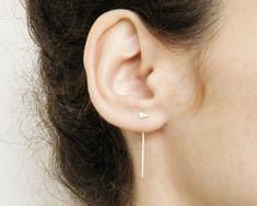 Vestes d'oreille minimaliste, vestes d'oreille argent, boucles d'oreilles minimalistes.