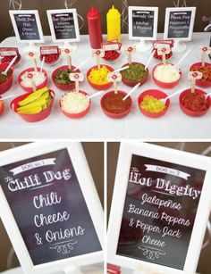 Hot Dog Bar – Free Printable SignsYou can find Hot dog bar and more on our website. Hot Dog Bar, Mickey Mouse Birthday, 2nd Birthday, Mickey Party, Birthday Ideas, Hamburger Bar, Hot Dogs, Hot Dog Toppings, Bbq Party