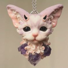 "344 Likes, 8 Comments - Alina Sanina (@warm_rain_art) on Instagram: ""Sweet Kitty Violet  for sale on my Etsy link in bio .  #polymerclay  #polymerclayjewelry…"""
