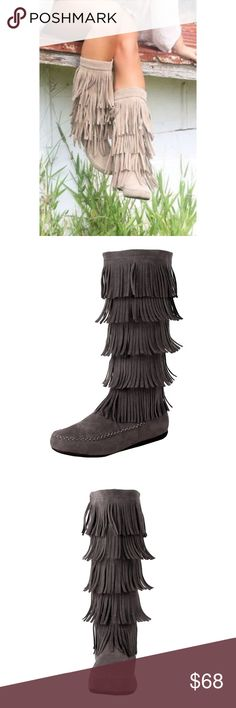 Fringe Layered Boots What a great boot! It looks and feels like real leather. I am Native American. Just for a night out or if you have to wear regalia, these will worked perfectly. Shaft measures approximately 17 from arch Vegan Grey Suede  Heel Height~0.5 / Shaft Height~17 low-heel / knee-high / closed-toe does-not-contain-animal-products SavedByTheShoes Shoes Winter & Rain Boots