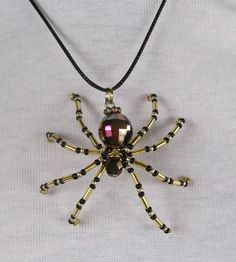 Halloween - Beaded Spider Pendant Necklace. $10.00, via Etsy.