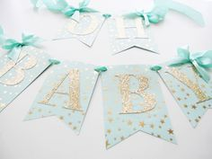 Mint and Gold Baby Shower Banner | Oh Baby Mint and Gold Stars | Twinkle Twinkle Little Star