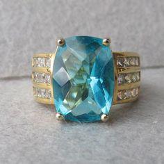 Big Vintage Faux London Blue Topaz & Rhinestone Sterling Silver Vermeil Ring, Size 6.75