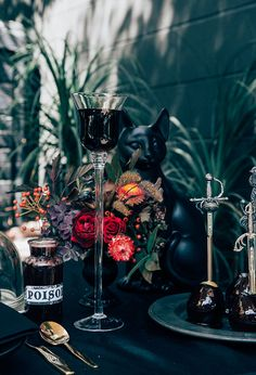Thrifted Glasses and Silverware Make for a Wicked, Thrifted DIY Halloween Tablescape
