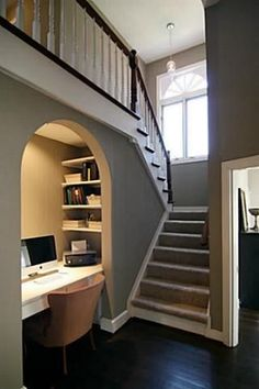 Ideas Closet Office Nook Under Stairs For 2019 Interior Stairs, Office Interior Design, Home Office Decor, Office Interiors, Office Designs, Bar Designs, Office Under Stairs, Under Stairs Nook, Stairs Architecture