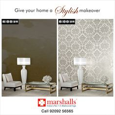Make your home the stylish place in town within 2 hours!  Visit us at www.marshallswallcoverings.com to get the best in wallcoverings! #MarshallsWallcoverings #Wallcoverings #Walldecor #HomeDecor #InteriorDesigning #walls #walldesigning.
