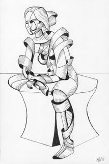 Daily Painters Abstract Gallery: Mark Adam Webster - Becca 16.04 - Abstract Futurist Figurative Ink Drawing