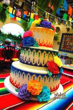 Fiesta cake - beautiful piped icing detail
