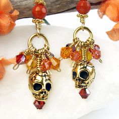 Colorful Crystal Cluster Skull Earrings Coral Day of the Dead Handmade | PrettyGonzo - Jewelry on ArtFire