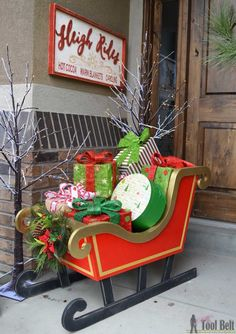 """Outdoor Christmas Decorations 56364 DIY Santa Sleigh with free pattern. ~ """"Here comes Santa Claus, here comes Santa Clause, right down Santa Claus lane…"""" Welcome guests with a DIY Santa Sleigh """"that's filled with toys for boys and girls again"""". Grinch Christmas, Christmas Wood, Christmas Projects, Christmas Lights, Christmas Holidays, Christmas Ornaments, Christmas Ideas, Primitive Christmas, Country Christmas"""