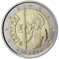 2 euro coin centenary of the first edition of Miguel de Cervantes' The ingenious gentleman Don Quixote of La Mancha