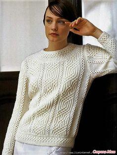 Пуловер с изящным рельефным узором. Спицы.