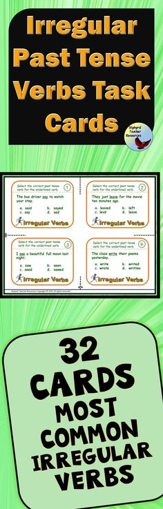 These irregular past tense verbs task cards offers engaging activities to reinforce this English grammar concept. Use this to teach and reinforce irregular past tense verb forms for your ESL, ELL, EFL students. English Writing Exercises, English Verbs, English English, English Tips, Irregular Past Tense Verbs, Grammar Practice, Grammar Lessons, English Language Learners, Language Arts
