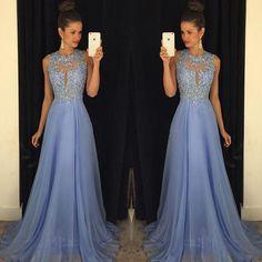 Barato Azul Royal Prom Dress 2016 Best Selling O Pescoço Sem Mangas Uma Linha…