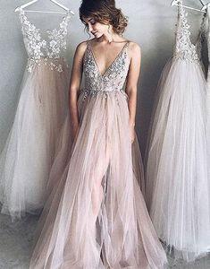 Günstige Abendkleider Lang V Ausschnitt Tüll Abiballkleider Online_Brautkleider,Abiballkleider,Abendkleider