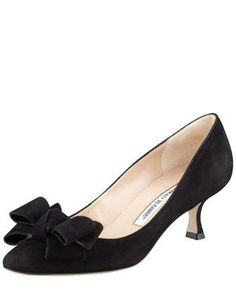 Lisanewbo Suede Low-Heel Bow Pump, Black by MANOLO BLAHNIK at Bergdorf Goodman.