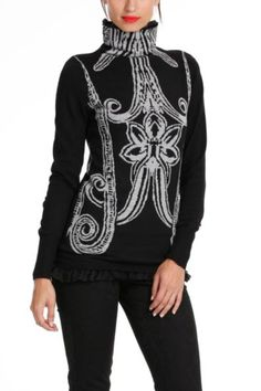 Desigual women's Vanda jumper from the Desigual by L range has a black gauze lining visible at the bottom and at the top creating a high neck.