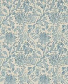 Cochin Blue (311708) - Zoffany Wallpapers - An elegant faded damask design inspired by an 18th century print from the Zoffany archive. Shown here in the blue colourway.  Other colourways are available. Please request a sample for true colour match.