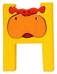 Montessori - Waldorf wooden puzzle letter H, made by hand of maple wood,no harmful colors and no lacquer