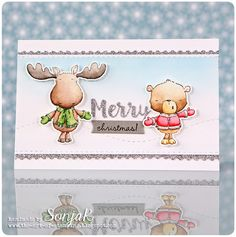 """Weihnachtskarte   Christmas card - Purple Onion Designs """"Spruce"""", """"Noel"""", """"Sweetest Season Sentiment Set"""", Paper Smooches """"Stitched Dies"""", My Favorite Things """"Merry Christmas"""", EK Success """"Postage Stamp Edge Punch"""", Winsor & Newton Watercolor Markers"""