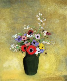 Flowers in a Green Pitcher - Odilon Redon
