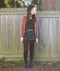 shorts with tights and awesome cardigan