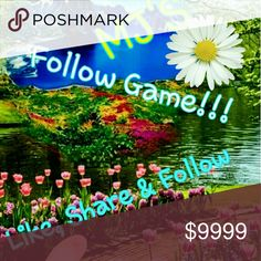 Follow Game Please like, Share, and follow to help us all grow. This is my first follow game. I'm new to poshmark and already an hooked. Thank all my mentors for all the great advice !! Other