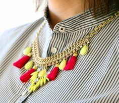 Make your very own neon statement necklace in under 30 minutes!